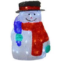 30cm Acrylic Light Up Christmas Snowman Decoration Lamp White LED Lights Mains