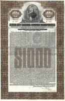 Original Germany Loan Bond 1929 City Berlin Electric Co $1000 Deco coupons