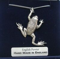 Frog Necklace in Fine English Pewter, Hand Made and Gift Boxed (B)