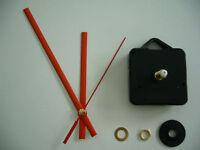 QUARTZ CLOCK MECHANISM LONG SPINDLE 130mm RED HANDS