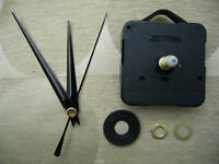 CLOCK MECHANISM QUARTZ LONG SPINDLE. 86mm BLACK HANDS