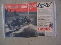 1952 Evinrude Outboard Motor Two Page Ad 25 HP Big Twin Roto Matic Control  H