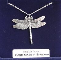 Dragonfly Necklace in Fine English Pewter, Hand Made, Gift Boxed