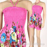 Cute Bohemian Fashion Halter Sundress & Skirt Boho Summer Pink XS S M hm082p