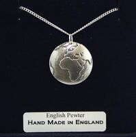 Planet Earth Necklace in Fine English Pewter, Hand Made, Gift Boxed