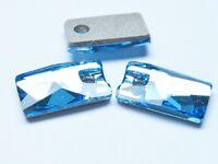 2pcs Swarovski ® Aquamarine 12x7mm Pendular Lochrose Pendant  ref:3500