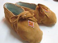 NATIVE AMERICAN  BEADED  MOCCASINS,6 INCHES, UNISEX,COZY WARM, KIDDIES, W/ TIES
