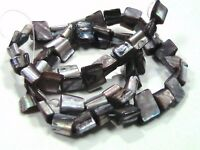 """15"""" Strand Grey Shell Nuggets Approx 50 Beads Grey / Black Beading  K159"""