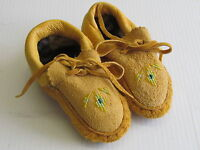 NATIVE AMERICAN  BEADED MOCCASINS,COZY,5 1/2 INCHES, UNISEX FOR KIDS,DOUBLE SOLE