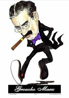 "GROUCHO MARX CARTOON CARICATURE 7"" x 5"" SIZE PRINT by NORMAN HOOD"