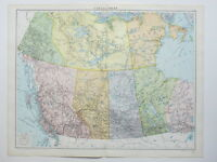 1920 Map Canada West Yukon Alberta Manitoba Mackenzie Large Colour Map Gross