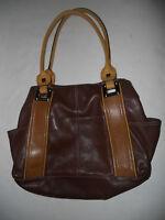 TIGNANELLO Brown Two Tone Pebbled Leather Shoulder Handbag Shopper Tote Purse