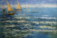 Van Gogh The Sea at Saintes-Maries Repro. Hand Painted Oil Painting 24x36in