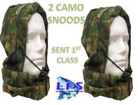 2 x New Camo Snoods Fully Fleeced Fishing Hunting Warmer Balaclava Snood