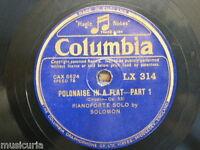"""78rpm 12"""" SOLOMON chopin polonaise Ab op 53 / etude Ab op 25/1"""