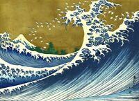HOKUSAI - Wave with Colour - QUALITY CANVAS PRINT - A2 size - Japanese Art