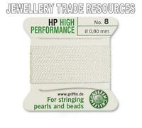 HP HIGH PERFORMANCE WHITE SILKY THREAD 0.80mm STRINGING PEARLS BEADS GRIFFIN 8