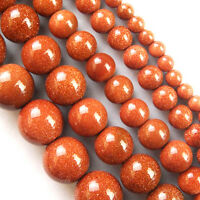 """Wholesale Gold Sand Stone Round Ball Loose Beads 15.5"""" 4mm,6mm,8mm,10mm,12mm"""