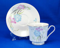 Fortune Fine China Footed Cup and Saucer Set 3 in. Pink Blue Flowers White China