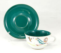 Denby / Langley FLAIR Flat Cup and Saucer Set 2.25 in. White Handle Rooster