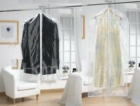 2 PACK SET CLEAR GARMENT DRESS SUIT CLOTHES COAT COVER PROTECTOR TRAVEL ZIP BAG