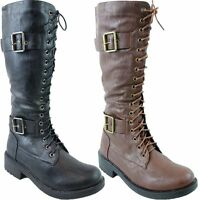 Ladies Lace Up Side Zipped Long Knee Military Womens Boots Biker Boots Shoes