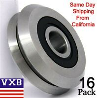 "Lot of 16 RM2-2RS 3/8"" inch V Groove CNC Guide Way Rubber Sealed Ball Bearings"