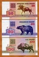 Belarus, Set 25;50;100, 1992, Picks 6;7;8 EX-USSR, UNC