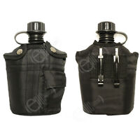 Black Army WATER BOTTLE - Screw Top Military Canteen with Cover and Belt Clip