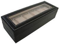 Black 6 Grid Jewelry Watch Collection Display Storage Organizer Leather Box Case