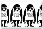 BANKSY-MONKEYS Laugh Now- QUALITY Canvas Art Print A4 -Graffiti Street Poster BW