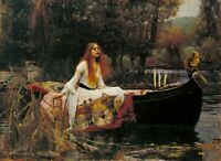 J. W. WATERHOUSE - The Lady of Shallott - QUALITY CANVAS PRINT A4 Size