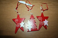 3 x RED & WHITE PAINTED STARS / XMAS TREE  CHRISTMAS HANGING DECORATIONS