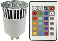 FOCO LED CREE ALTA POTENCIA 5W RGB GU10 220V + MANDO EFECTOS MULTICOLOR BD3576-8