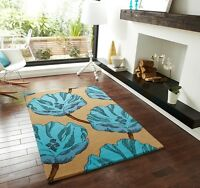 New Soft Thick Beige Blue Floral Design Mats Large High Quality 100% Wool Rugs