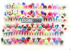 30 Pcs Mixed UV Ball Nipple Tongue Rings Barbells Piercing Body Jewelry 14g 5/8