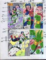 Original 1990's Captain Marvel vs Avengers Wonder Man color guide art 7 page 8