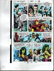 1990 Avengers Marvel color guide art page:Captain America/She-Hulk/Thor/Iron Man