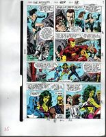 1990 Avengers Marvel color guide art page:Captain America/She-Hulk/Thor/Iron Man