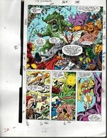 Avengers 327 Marvel color guide art page: Thor/She-Hulk/Iron Man/Captain America