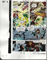 1990 Iron Man/Thor/She-Hulk Avengers Marvel Comics original color guide art page