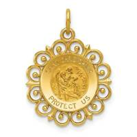 14k Yellow Gold Saint Christopher Medal Polished Charm Pendant 19mmx19mm