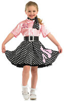 GIRLS ROCK N ROLL 1950s PINK POODLE FULL FANCY DRESS COSTUME OUTFIT 4-6-8-10-12