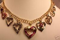 14K GOLD DIAMOND RUBY SAPPHIRE EMERALD AQUAMARINE HEART CHARM BRACELET NECKLACE