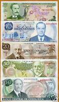 Costa Rica, Obsolete Set, 5;10;20;50;100 colones, UNC