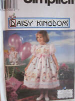 7544 UNCUT Simplicity SEWING Pattern Little Girls Daisy Kingdom Dress Doll Hat