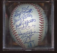 1990 Texas Rangers Team Signed OAL Brown Baseball 26 Signatures JSA LOA