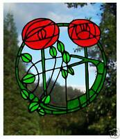 Mackintosh Rose  Stained Glass Effect Window Cling