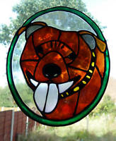 Staffordshire Dog Stained glass effect window cling