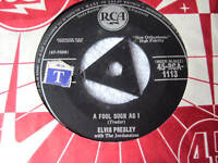 "ELVIS PRESLEY 7""single A FOOL SUCH AS I tri centre"